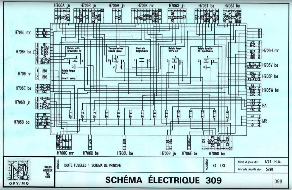 peugeot 309 schema fuse board with wire codes at plugs.JPG
